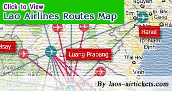 Lao Airline Routes Map