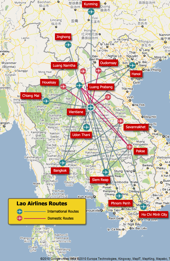 Lao Airlines Routes Map, Lao Airlines International Routes